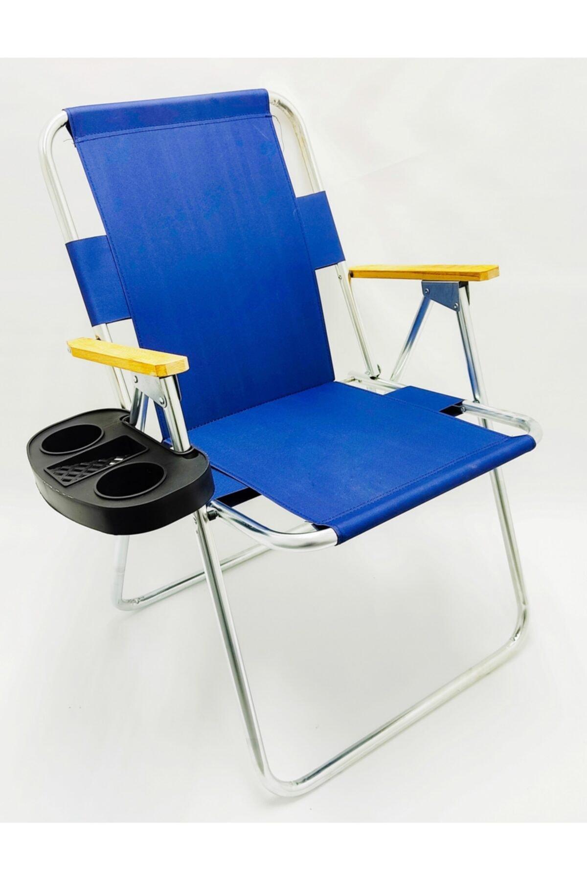 Katlanır Ahşap Kolçaklı Kamp Plaj Bahçe Sandalyesi-Aparatlı