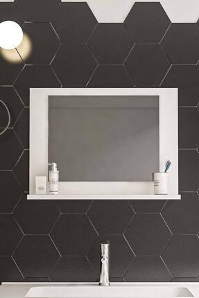 bluecape Beyaz Raflı Antre Hol Koridor Duvar Salon Mutfak Banyo Wc Ofis Çocuk Yatak Odası Aynası  60x45 1