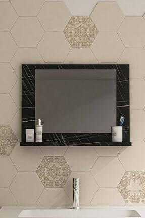 bluecape Siyah Mermer Raflı Antre Hol Koridor Duvar Salon Mutfak Banyo Wc Ofis Çocuk Yatak Odası Aynası 60x45 1