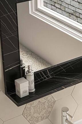bluecape Siyah Mermer Raflı Antre Hol Koridor Duvar Salon Mutfak Banyo Wc Ofis Çocuk Yatak Odası Aynası 60x45 2