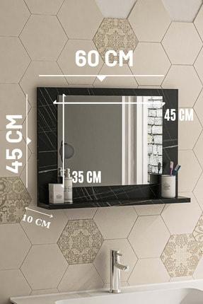 bluecape Siyah Mermer Raflı Antre Hol Koridor Duvar Salon Mutfak Banyo Wc Ofis Çocuk Yatak Odası Aynası 60x45 3