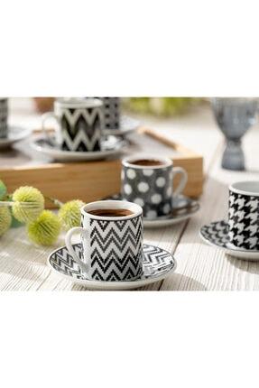 English Home Rony Porselen 12 Parça Kahve Fincan Takımı 80 ml Siyah 1