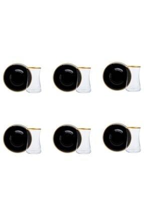 Paşabahçe Renkli Cam Heybeli Yaldız Siyah Tabaklı 12 Parça Çay Seti 0