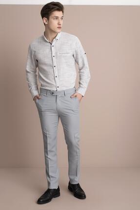 Tena Moda Erkek Gri Viskonlu Keten Pantolon 1