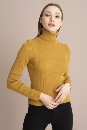 Tena Moda Kadın Camel Balıkçı Yaka Fitilli Triko Kazak 0