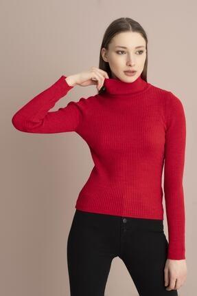 Tena Moda Kadın Kırmızı Balıkçı Yaka Fitilli Triko Kazak 0