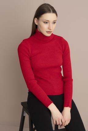 Tena Moda Kadın Kırmızı Balıkçı Yaka Fitilli Triko Kazak 1