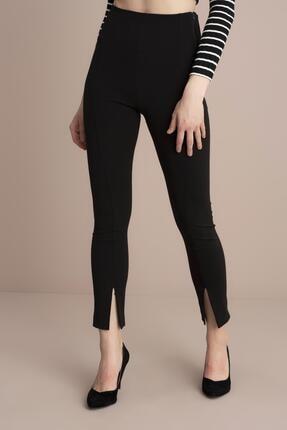 Tena Moda Kadın Siyah Yüksek Bel Paça Yırtmaçlı Pantolon 2