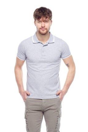 Tena Moda Erkek Gri Melanj G-1 Polo Yaka Tişört 0