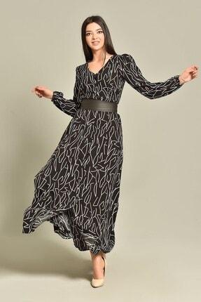 Modakapimda Siyah Kemerli Gömlek Elbise 0