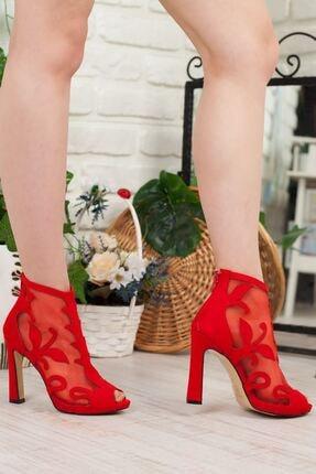 Adım Adım Kırmızı Süet Stiletto Kalın Topuk Kadın Abiye Ayakkabı • A192yrjb0018 1