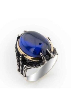 Takıhan Mavi Zirkon Taşlı Kartal Pençesi Erkek Gümüş Yüzük 0