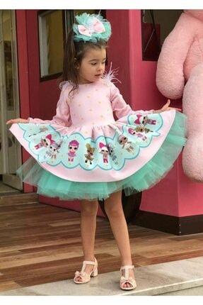 Ricco Pembe Turkuaz Tütülü Lol Baby Kız Çocuk Elbise 1