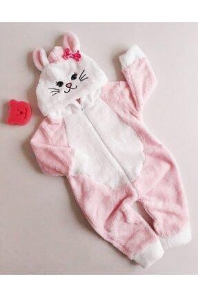 MiniStand Kız Bebek Kedili Pembe Peluş Tulum Kışlık 0