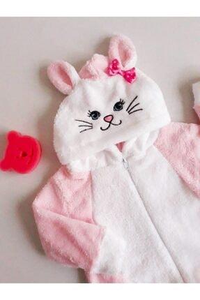 MiniStand Kız Bebek Kedili Pembe Peluş Tulum Kışlık 1