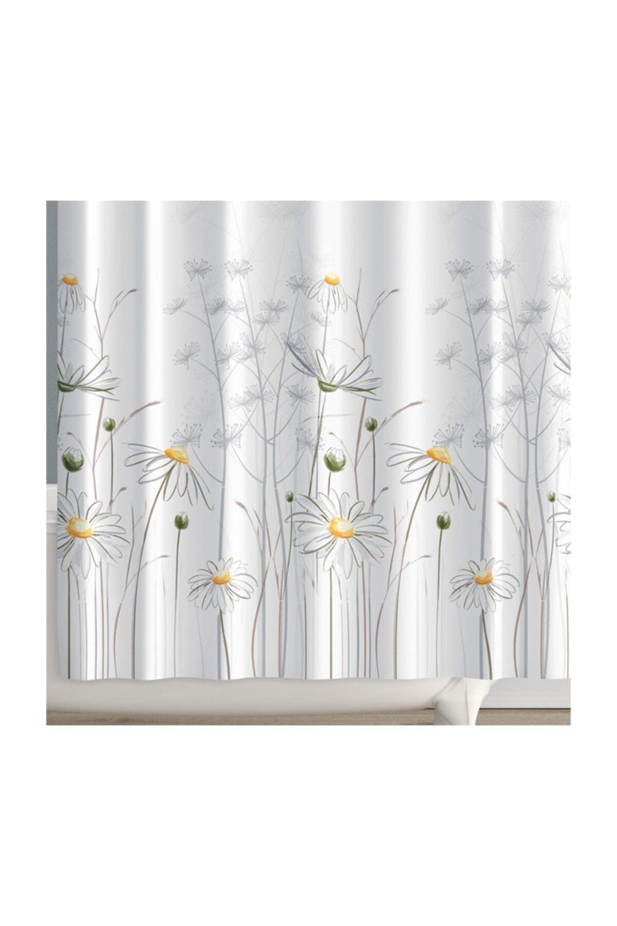 Beyaz Daisy Banyo Perdesi + Askı 180x200 cm