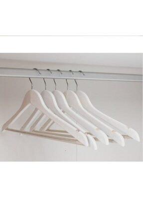 KARİN EV 12 Adet Ahşap Görünümlü Plastik A Kalite Askı, Kıyafet Ve Elbise Askısı Beyaz 1