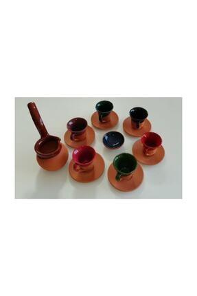 PINARSTORE Cezveli Renkli Çömlek Toprak Fincan Takımı 0