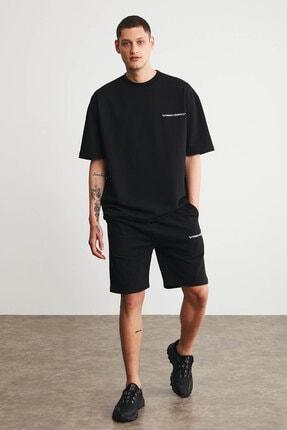 GRIMELANGE COLOMBIA Erkek Siyah Renk Şort T-shirt Eşofman Takımı 2