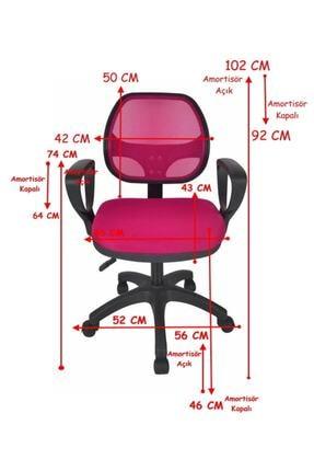TOMAR Fileli Kollu Personel Koltuğu Ofis Koltukları Bilgisayar Koltuğu Sekreter Sandalyesi - Pembe 2