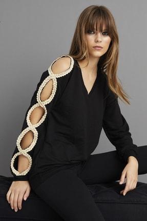 Cool & Sexy Kadın Siyah Kol Detaylı Sweatshirt BK1062 2