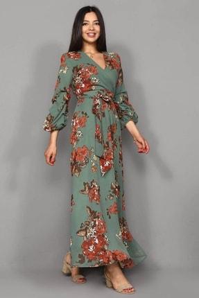 Modakapimda Yeşil Çiçekli Uzun Büyük Beden Şifon Elbise 3