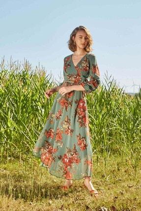 Modakapimda Yeşil Çiçekli Uzun Büyük Beden Şifon Elbise 4