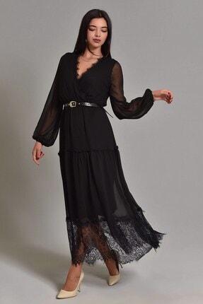 Modakapimda Siyah Etek Ucu Tül Kemerli Büyük Beden Şifon Elbise 1
