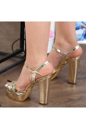 Adım Adım Altın Rugan Yüksek Topuk Bilekten Bağlama Abiye Gelin Kadın Ayakkabı • A182ymon00010 3