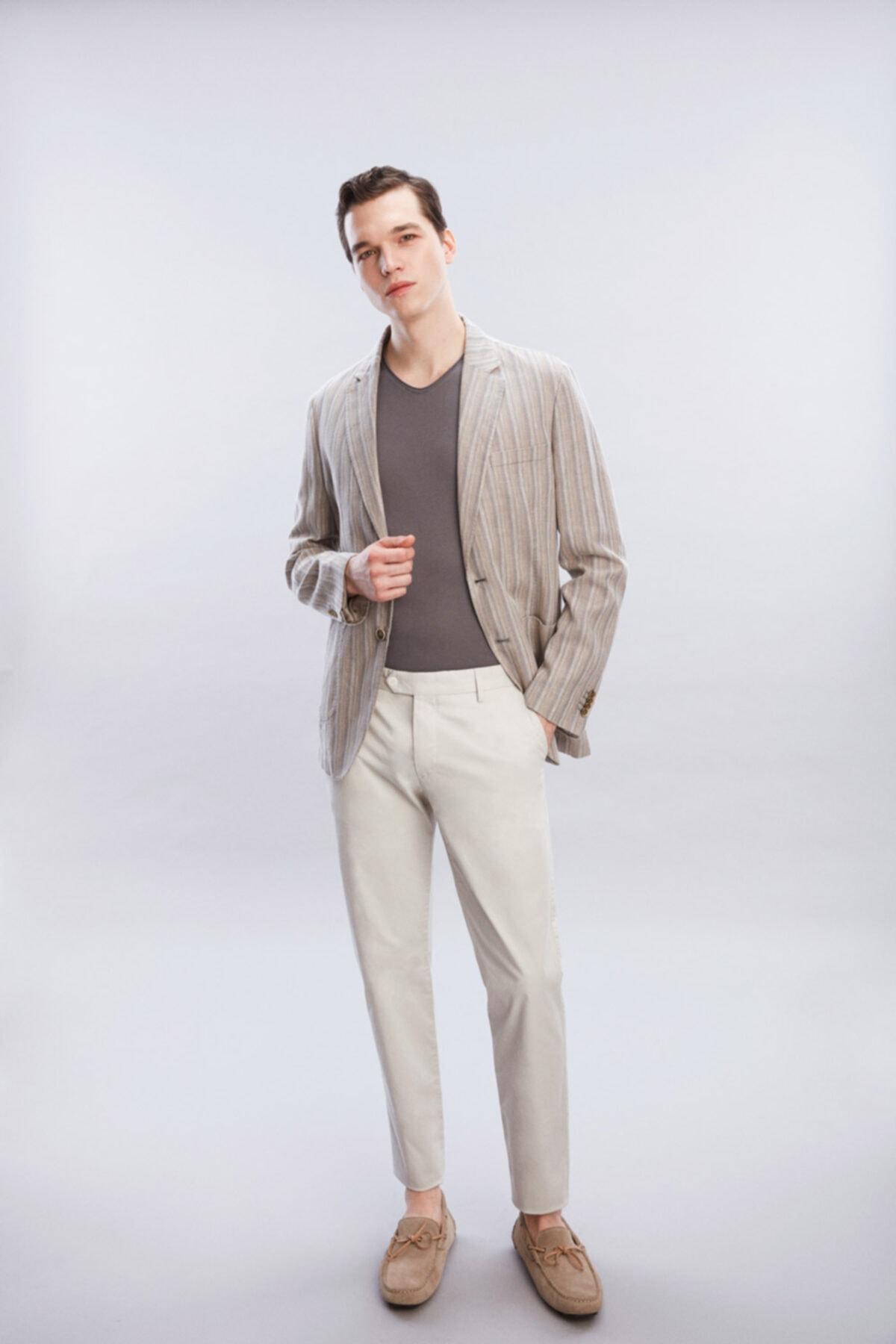 Bej Grı Desenli Ceket