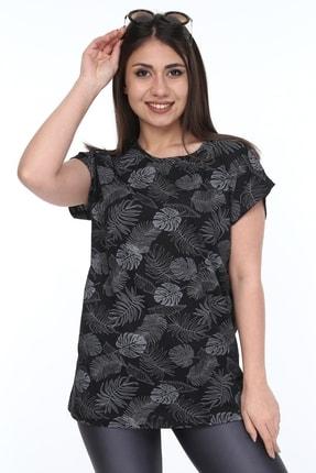 1fazlası Kadın Büyük Beden, Desenli Günlük T-shirt 0