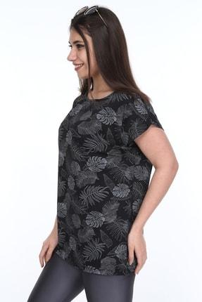 1fazlası Kadın Büyük Beden, Desenli Günlük T-shirt 3