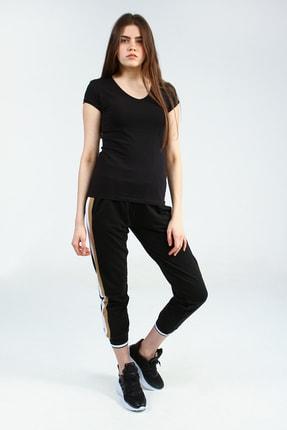 Collezione Siyah V Yakalı Kısa Kollu Basic Kadın Tshirt 2