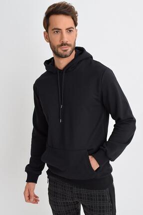Tena Moda Erkek Siyah Kapüşonlu Kanguru Cep Basic Sweatshirt 0