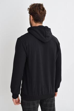 Tena Moda Erkek Siyah Kapüşonlu Kanguru Cep Basic Sweatshirt 2