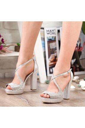 Adım Adım Gümüş Yüksek Topuk Abiye Kadın Ayakkabı • A192ymon0017 2