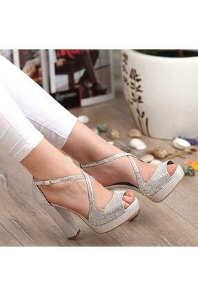Adım Adım Gümüş Yüksek Topuk Abiye Kadın Ayakkabı • A192ymon0017 3