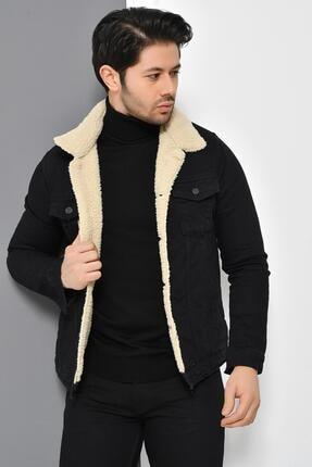 Tena Moda Erkek Siyah Kürklü Kot Mont Ceket 1
