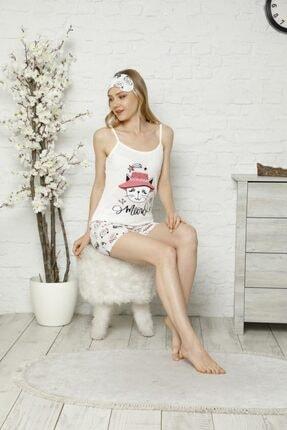Tena Moda Kadın Ekru Ip Askılı Atletli Şortlu Kedi Baskılı Pijama Takımı 1