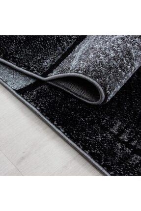 AYYILDIZ Modern Desenli Halı Kare Motifli Taramalı Tasarım Siyah Gri 2