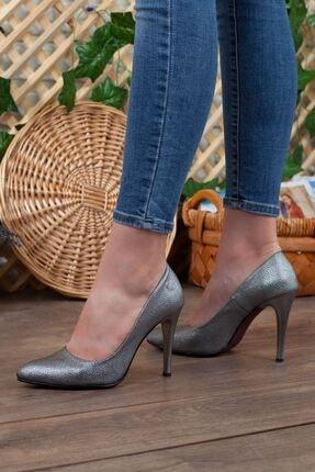 Mammamia Platin Simli Detay Hakiki Deri Stiletto Topuk Kadın Ayakkabı • A202kdyl0042 2