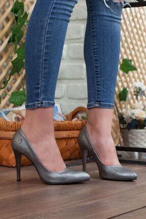 Mammamia Platin Simli Detay Hakiki Deri Stiletto Topuk Kadın Ayakkabı • A202kdyl0042 3