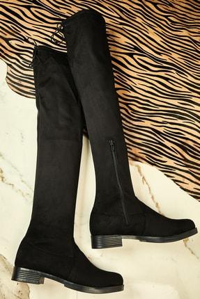 Bambi Siyah Süet Kadın Çizme K0576071165 0