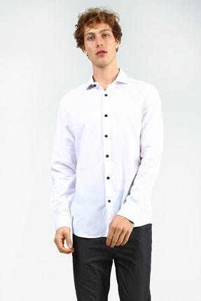 Beyaz Erkek Açık Mavi Düğmesiz Yaka Spor Düz Slim Uzun Kol Gomlek UCE541804A52