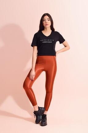 Tena Moda Kadın Kiremit Spandex Düz Tayt 4