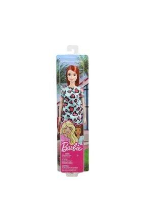 Barbie Şık Koleksiyon Model Bebek Kızıl Saçlı Mavi Kalpli Elbiseli 2