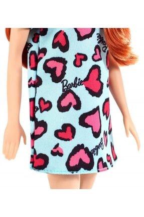 Barbie Şık Koleksiyon Model Bebek Kızıl Saçlı Mavi Kalpli Elbiseli 3