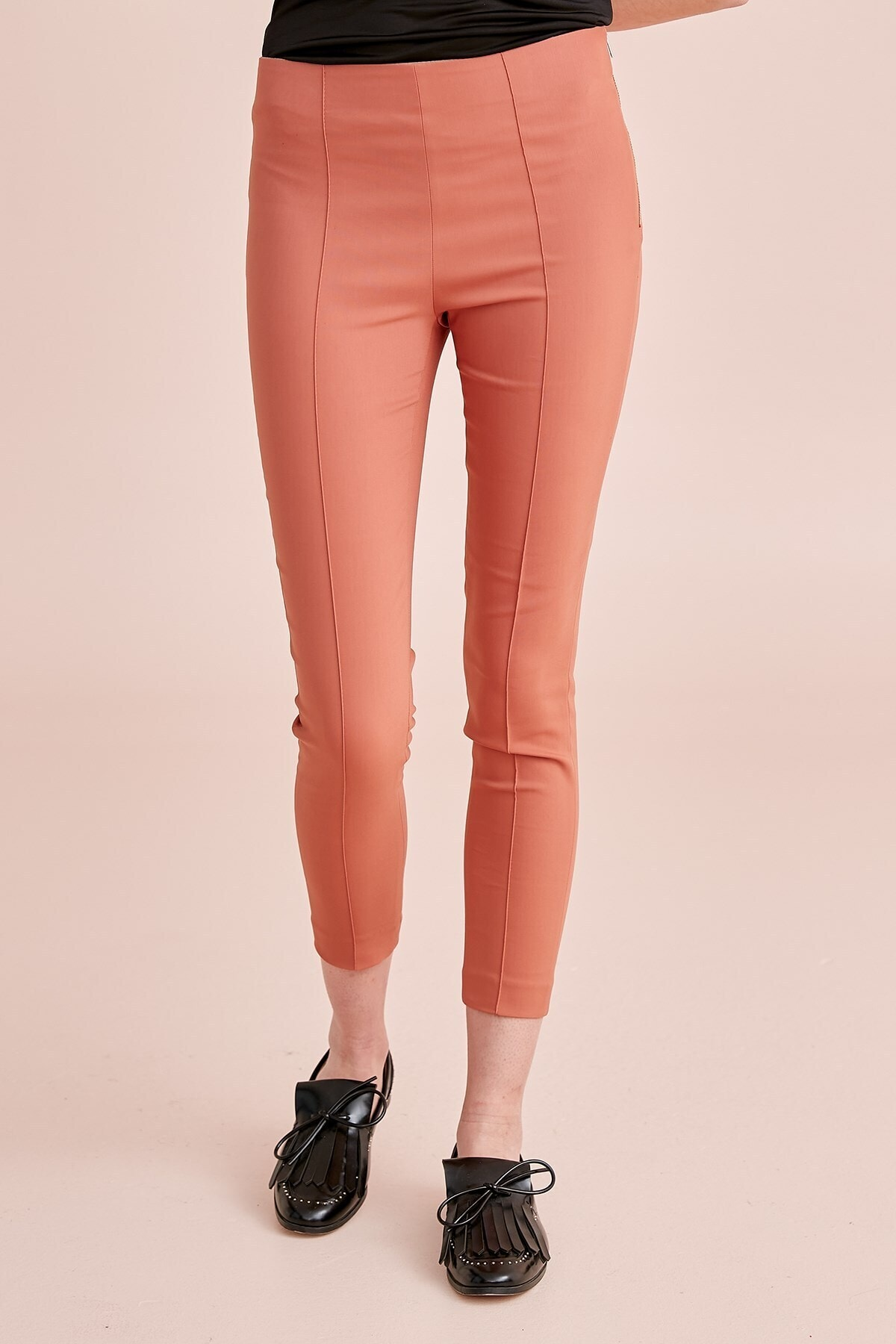 Pantolon -ütü Hattı Dikiş Detaylı, Yandan Fermuar Detaylı, Tayt