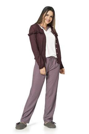 1054 Desenli 3 Parça Penye Kadın Pijama Takımı resmi