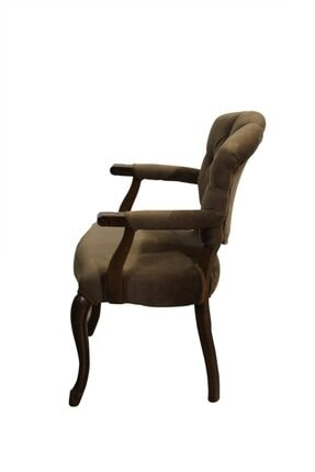 BENGİ TİCARET Bengi Lüx Kolçaklı Ahşap Berjer Sandalye Kahve 2